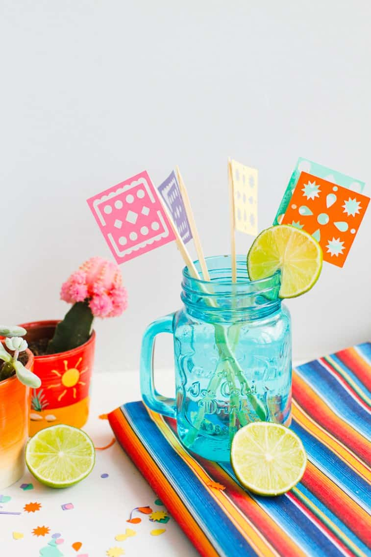 DIY-Papel-Picado-Flag-Drink-Stirrers-Wedding-Decor-Cricut-Explore-Colourful-Mexican-theme_-7