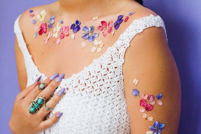 Flower Tattoos Temporary Festival Wedding Inspiration Ideas How to DIY confetti shropshire petals glastonbury style-3