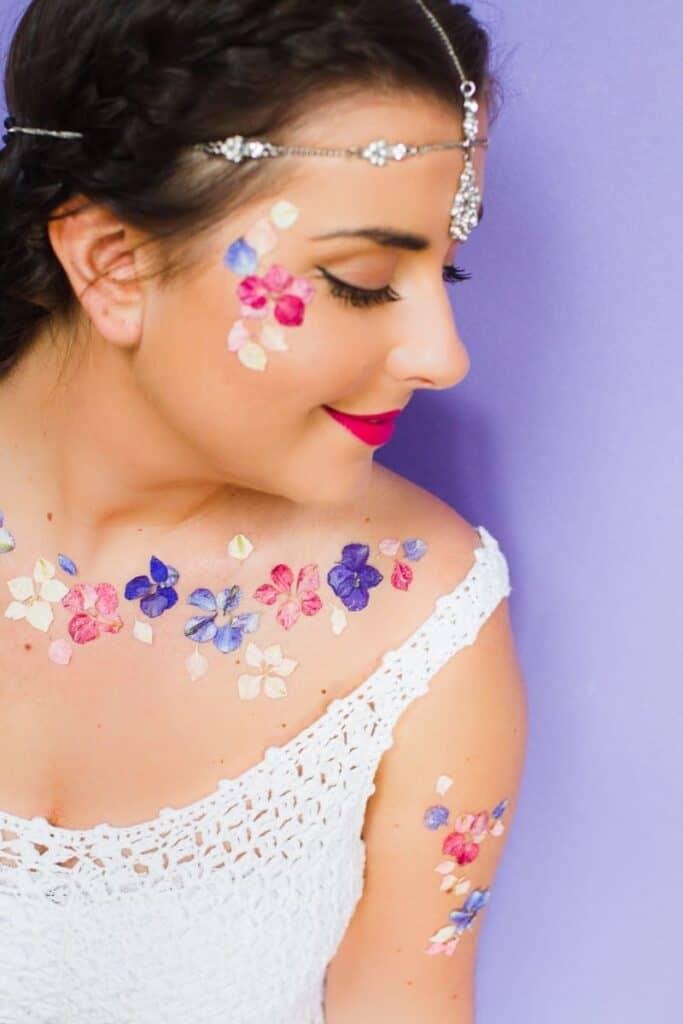 Flower Tattoos Temporary Festival Wedding Inspiration Ideas How to DIY confetti shropshire petals glastonbury style-5