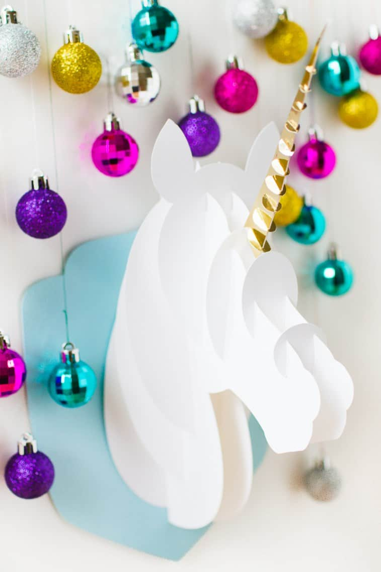 Unicorn-head-DIY-christmas-decoration-tutorial-3d-papercraft-cricut-card-xmas-modern_-4