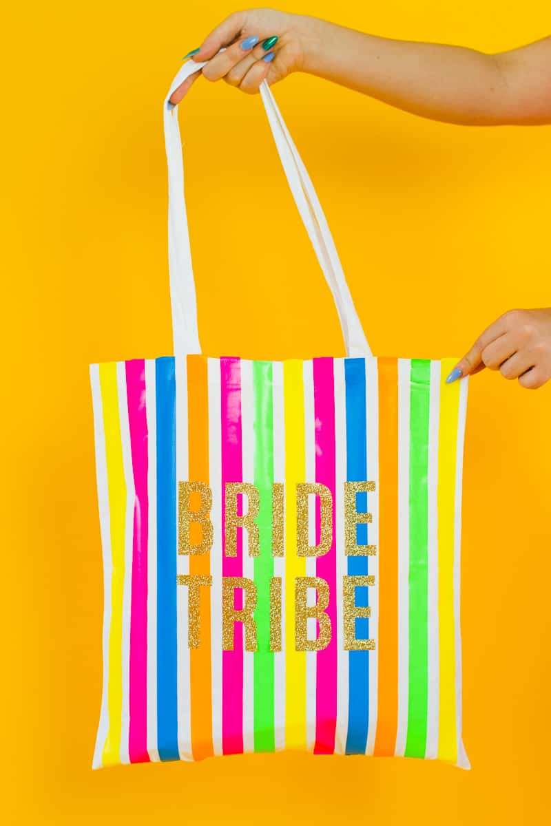 Bride tribe tote bag DIY tutorial Neon fun bridesmaid gift Cricut Explore Iron on Bag_-1