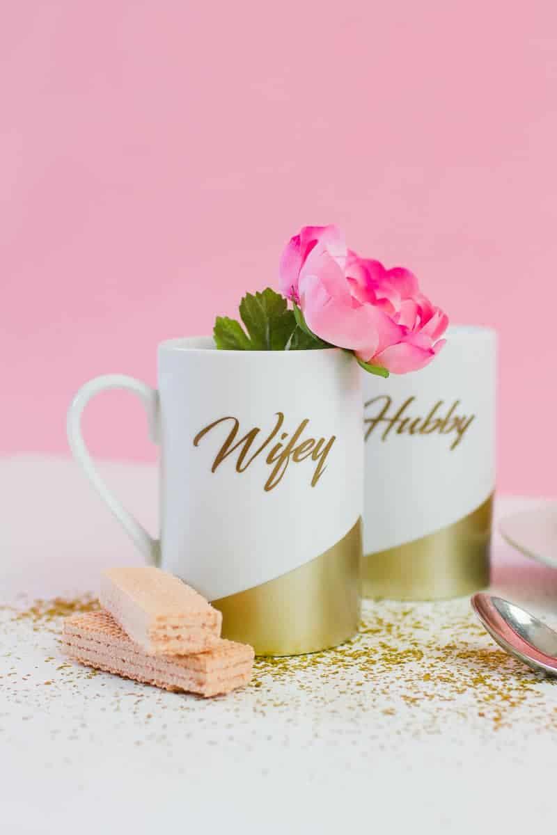 DIY Wifey Hubby mugs metallic gold bronze geometric bride grrom homemade gift idea cricut_-2