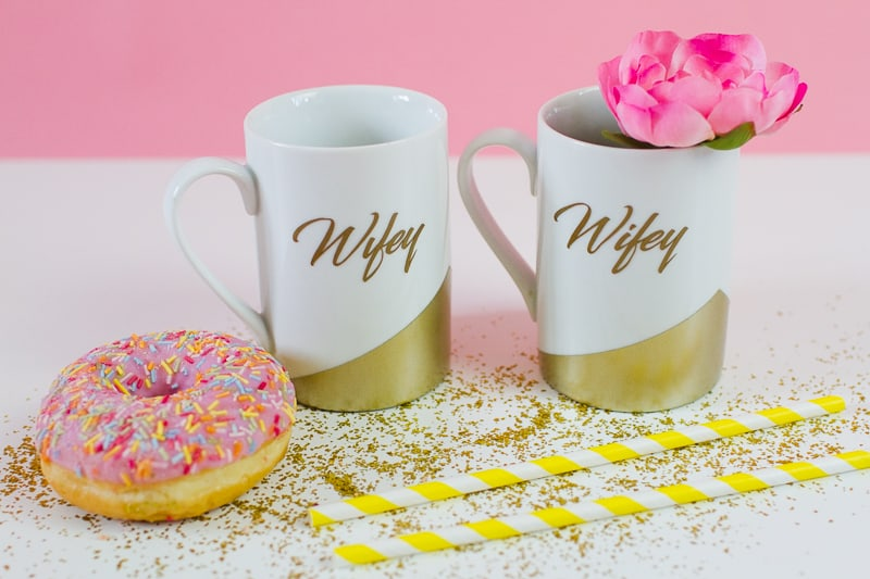 DIY Wifey Hubby mugs metallic gold bronze geometric bride grrom homemade gift idea cricut_-6