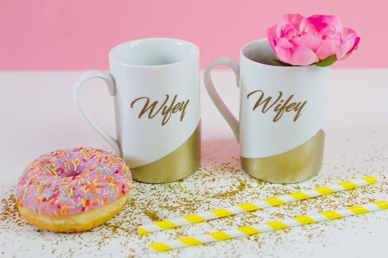 DIY Wifey Hubby mugs metallic gold bronze geometric bride grrom homemade gift idea cricut_-6