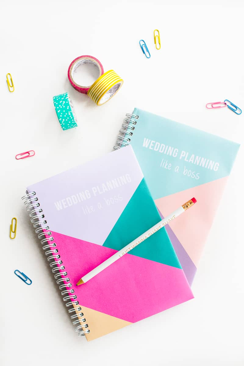 get your wedding notebook planner with geometric free