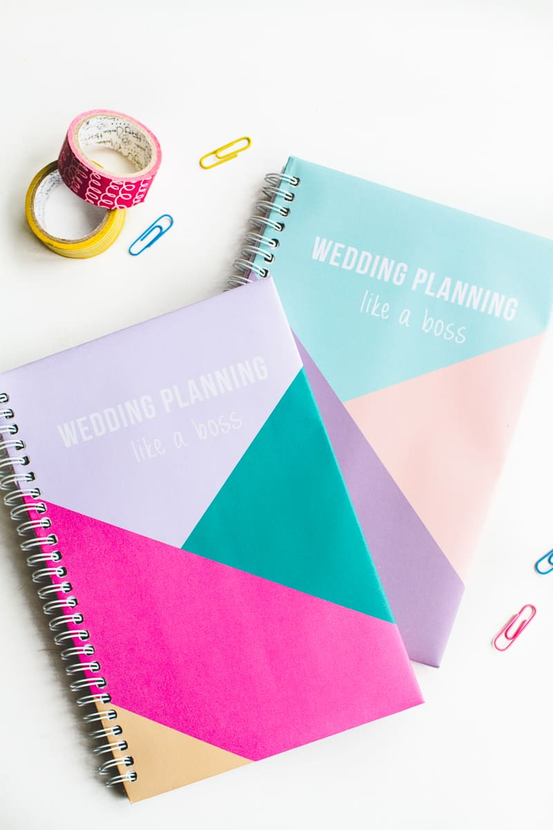 Notebook Cover Printable : Get your wedding notebook planner with geometric free