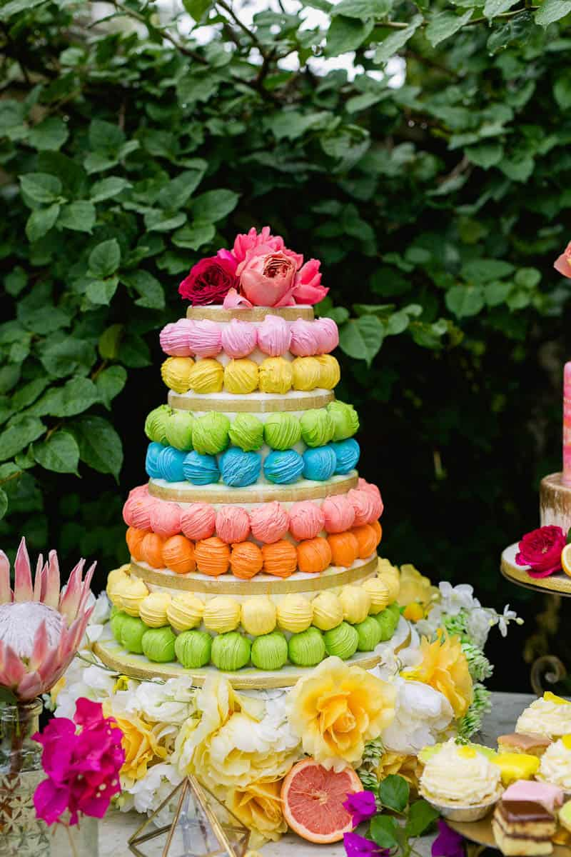 COLOURFUL TROPICAL PINK BRIDAL SHOWER WITH RAINBOW DESSERTS (22)