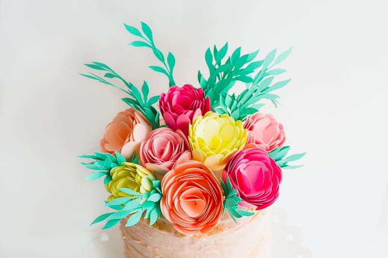 DIY Card Flower Cake Topper with Foliage How to make floral Topper-13