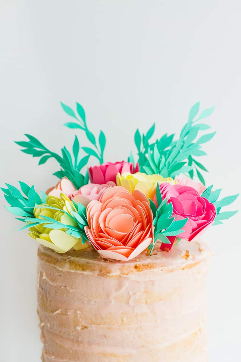 DIY Card Flower Cake Topper with Foliage How to make floral Topper-8