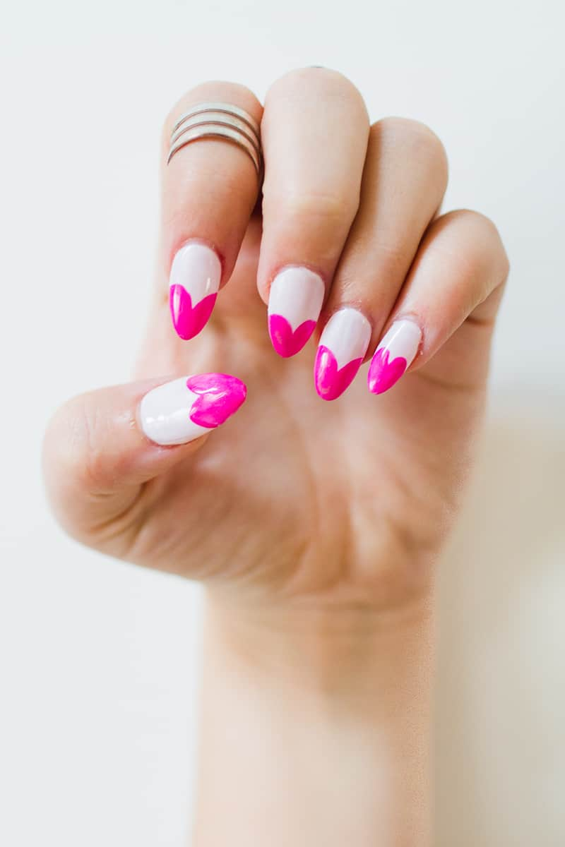 DIY Heart Manicure Pink Nail Design Cute valentines love flirty fun heart shaped nail art-6