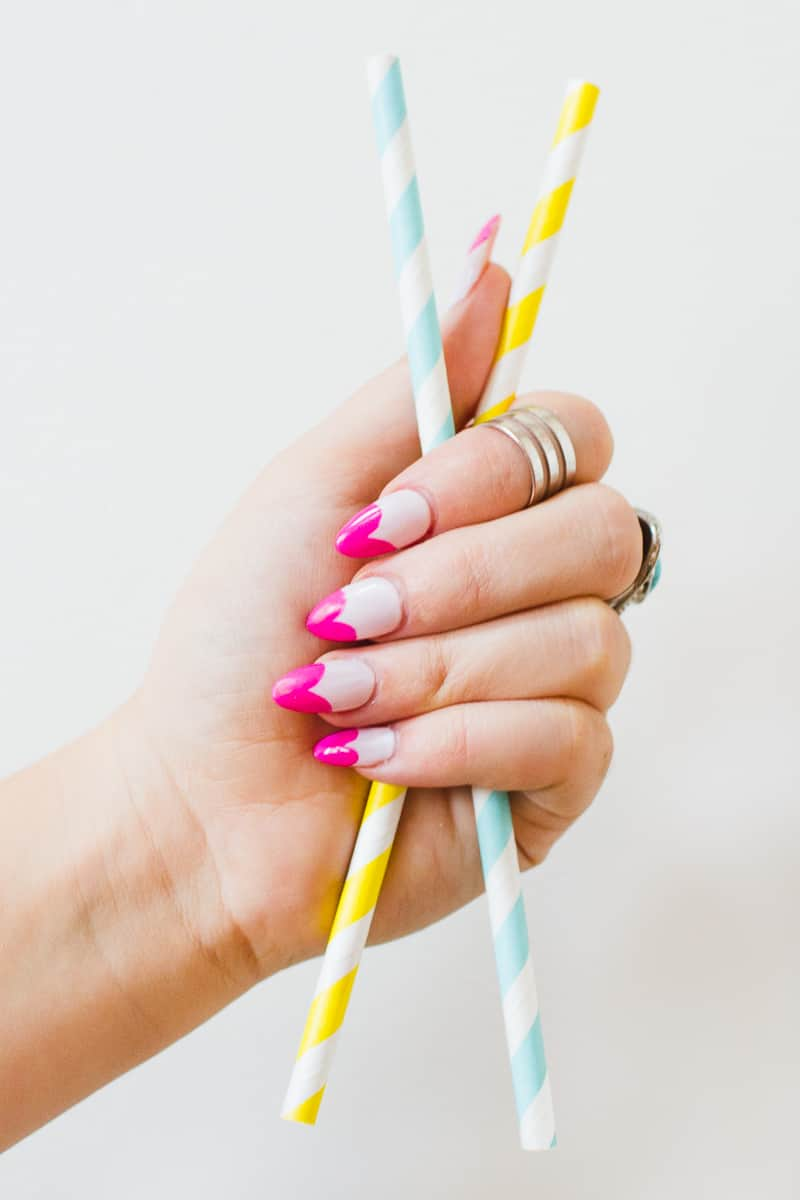 DIY Heart Manicure Pink Nail Design Cute valentines love flirty fun heart shaped nail art-7