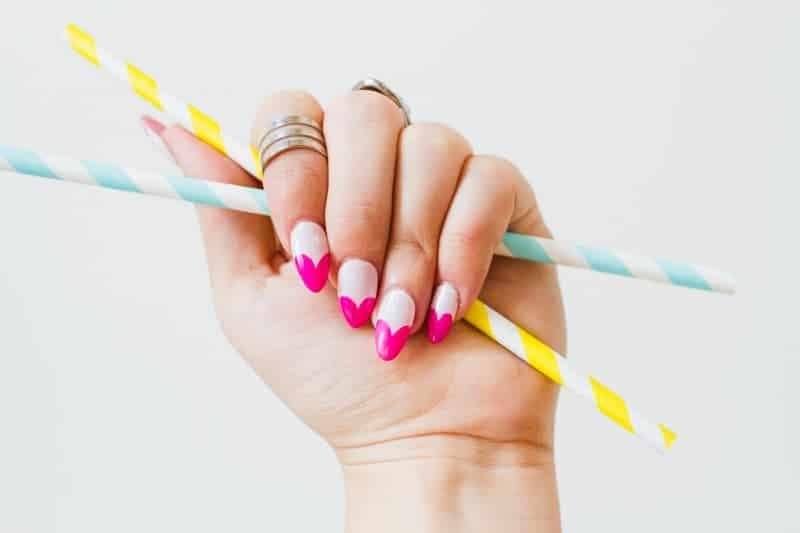 DIY Heart Manicure Pink Nail Design Cute valentines love flirty fun heart shaped nail art-8