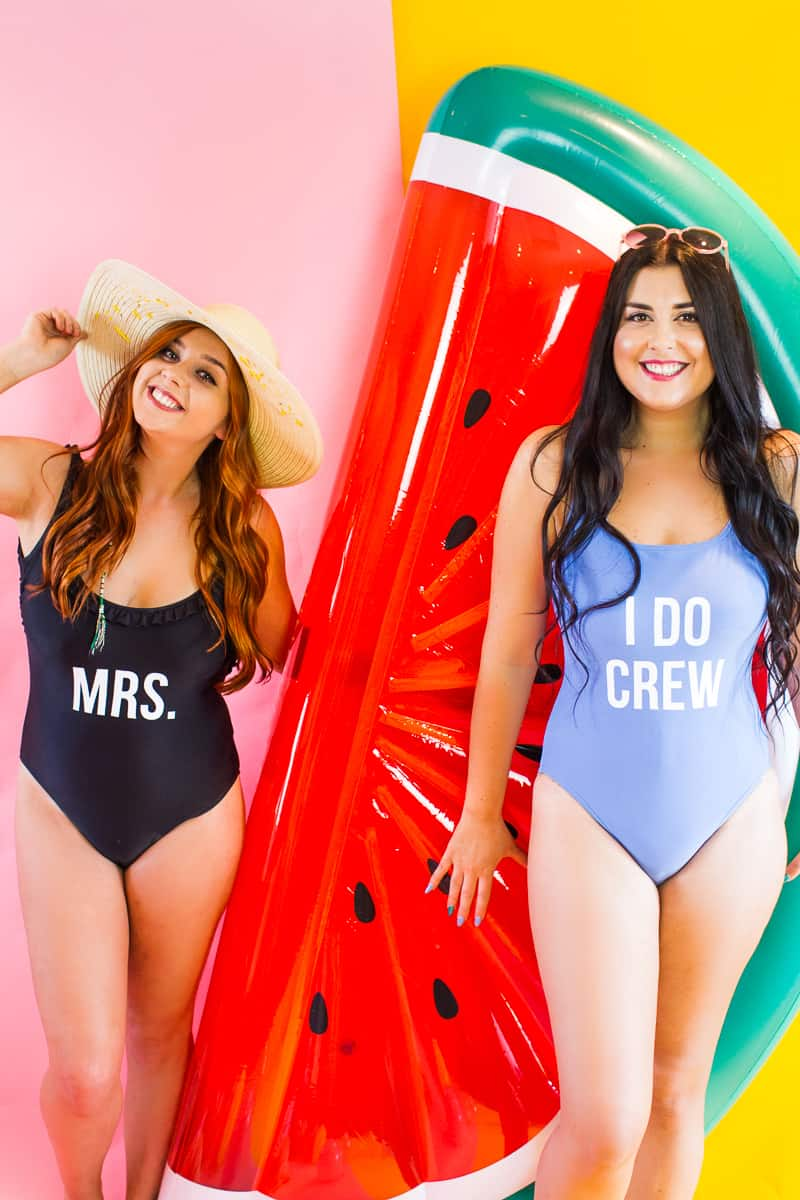 DIY Slogan Swimsuits Bride gift Bridesmaid Gift Present Idea Fun Honeymoon I do crew Mrs Swimwear_-11