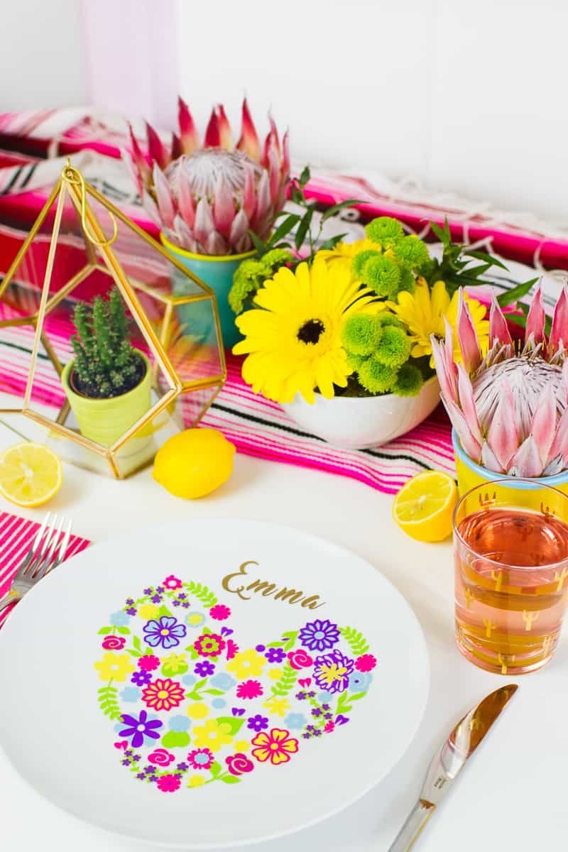 Diy Floral Plate Place Setting For Your Colourful Wedding