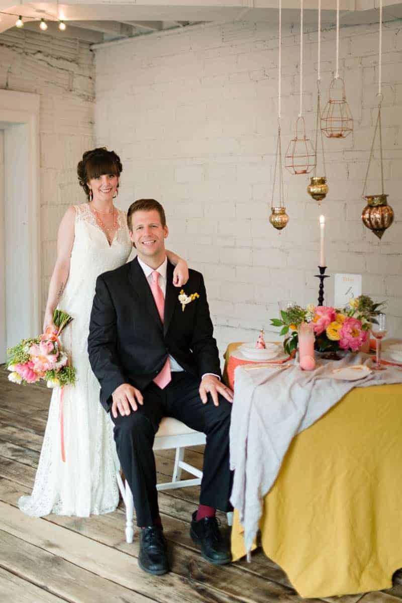 fun colourful yellow coral peach wedding and bridal shower ideas 19