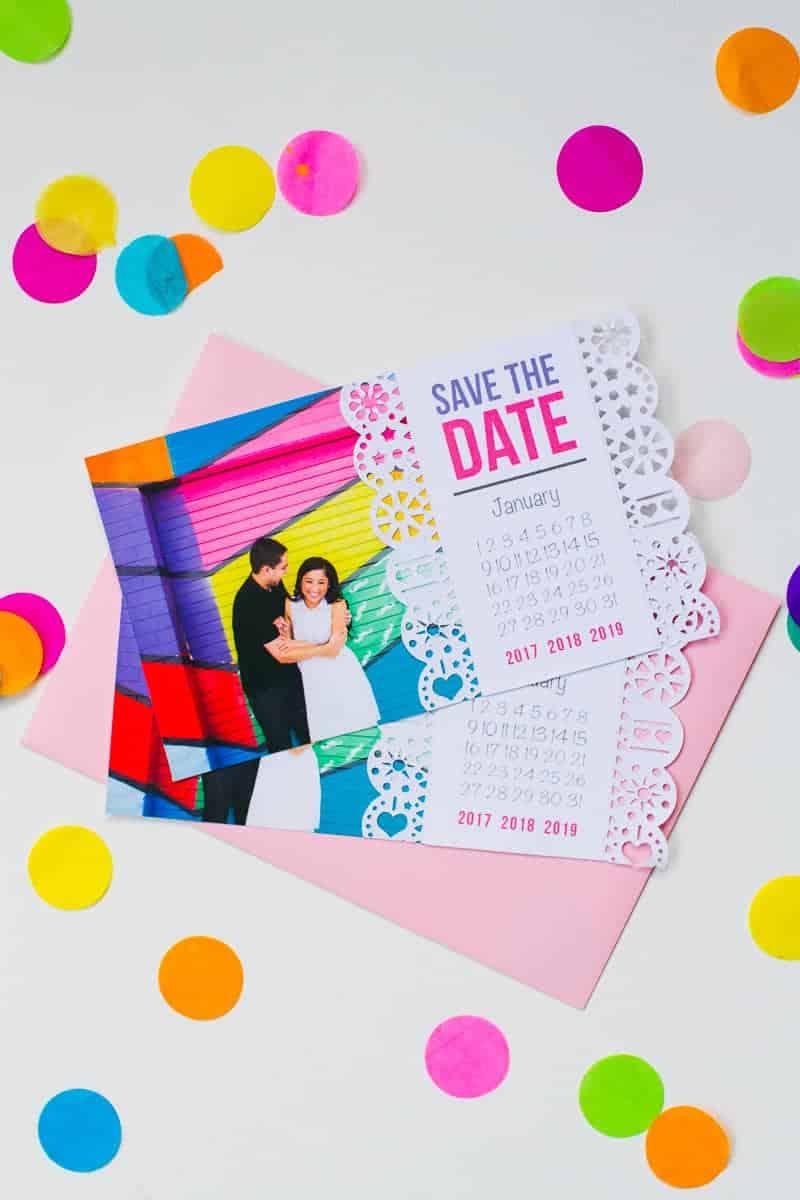 Mexican Save The Date Cricut Die Cut Colourful Fun Invitation Wedding Stationery-1
