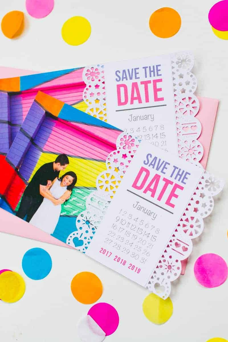Mexican Save The Date Cricut Die Cut Colourful Fun Invitation Wedding Stationery-3