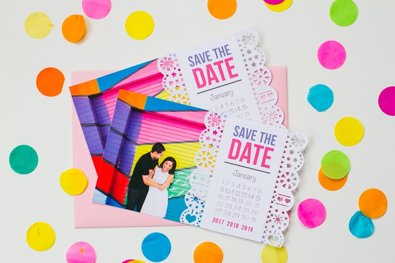 Mexican Save The Date Cricut Die Cut Colourful Fun Invitation Wedding Stationery-4