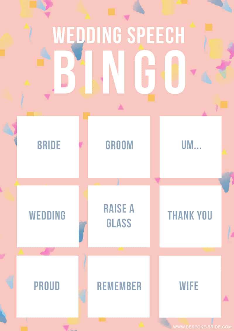 Wedding Speech Bingo Free Printable Game Bespoke Bride