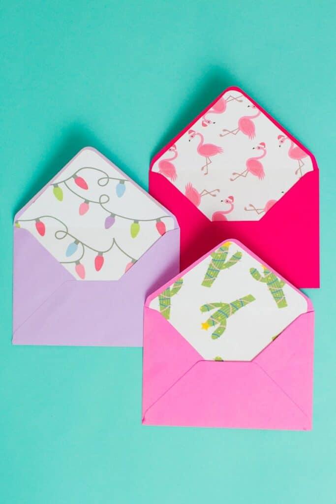 christmas-envelope-liners-free-printable-download-festive-flamingo-cactus-lights-pink-fun-1