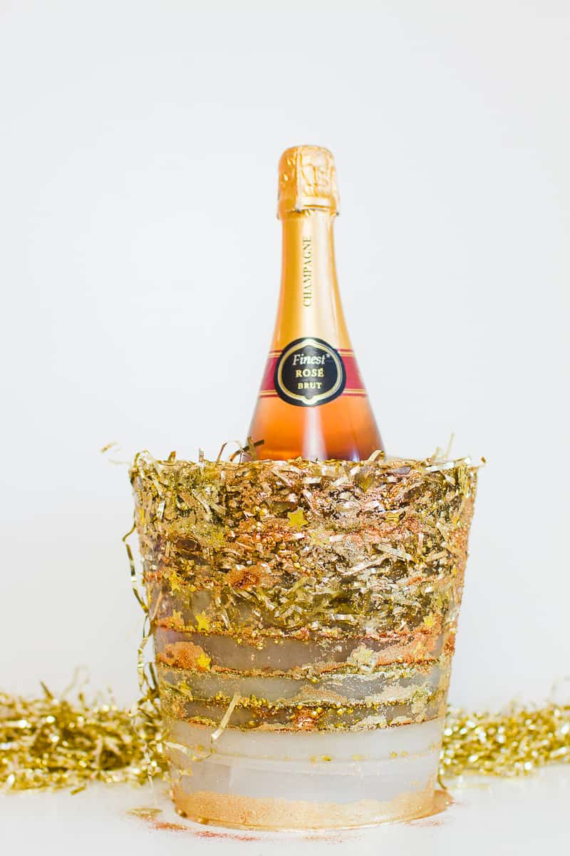 Diy Christmas Confetti Ice Bucket With Gold Copper