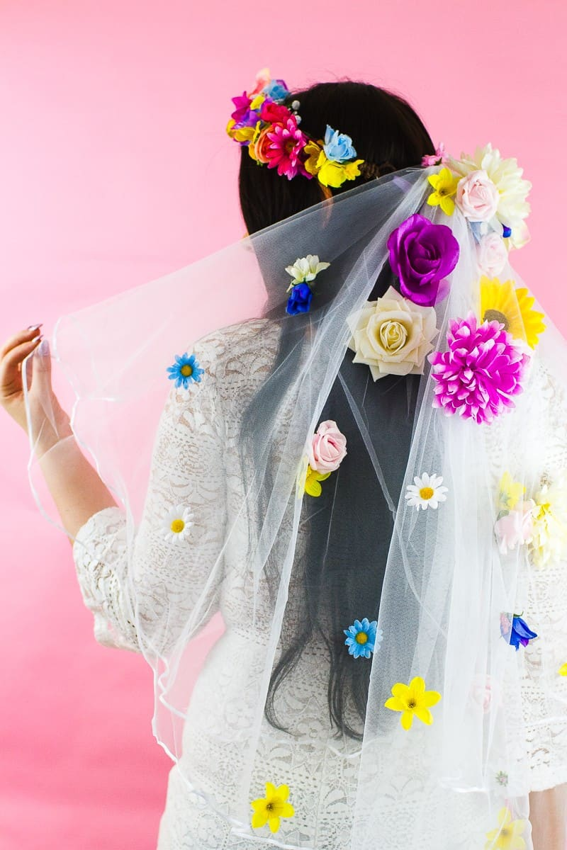 DIY Floral Flower Veil Colourful Fun Tutorial Wedding Faux Flowers-3
