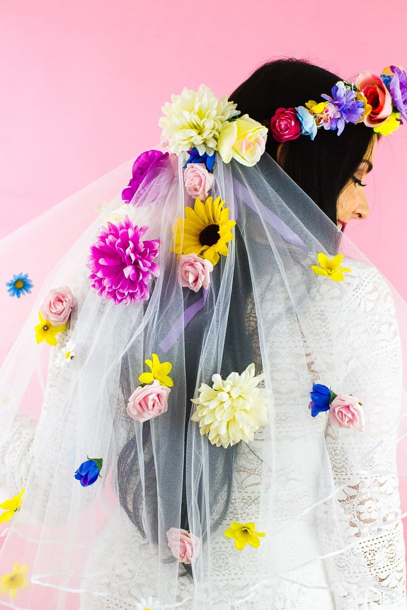 DIY Floral Flower Veil Colourful Fun Tutorial Wedding Faux Flowers-4