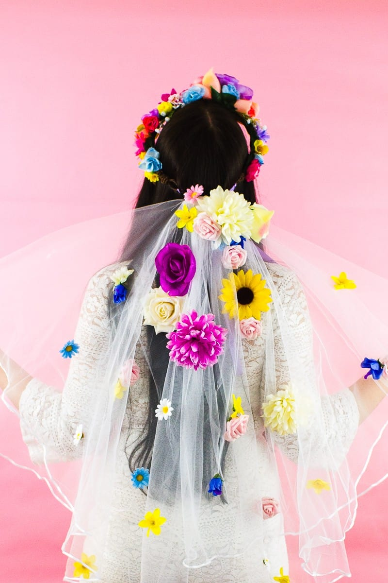 DIY Floral Flower Veil Colourful Fun Tutorial Wedding Faux Flowers-6