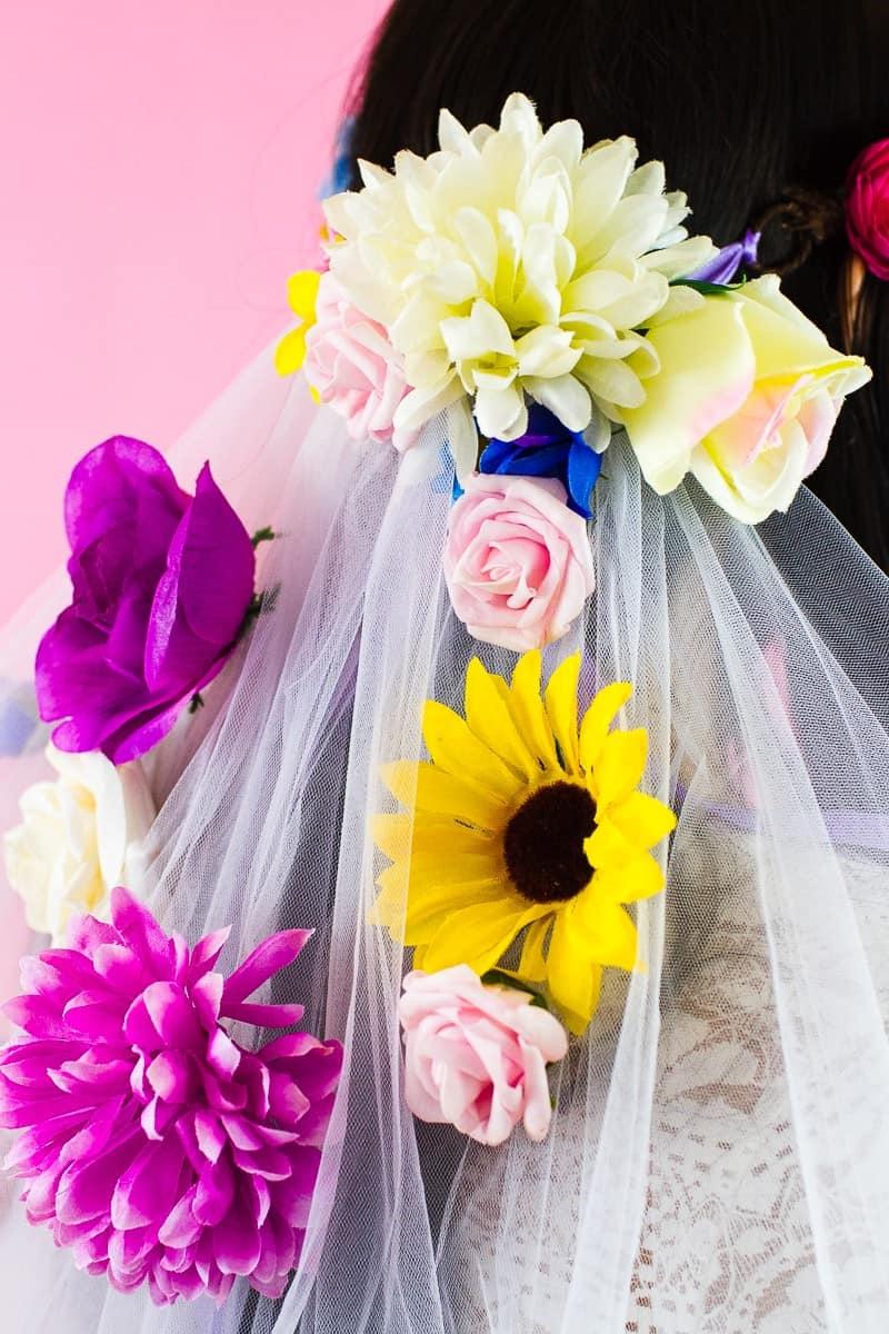 DIY Floral Flower Veil Colourful Fun Tutorial Wedding Faux Flowers-8