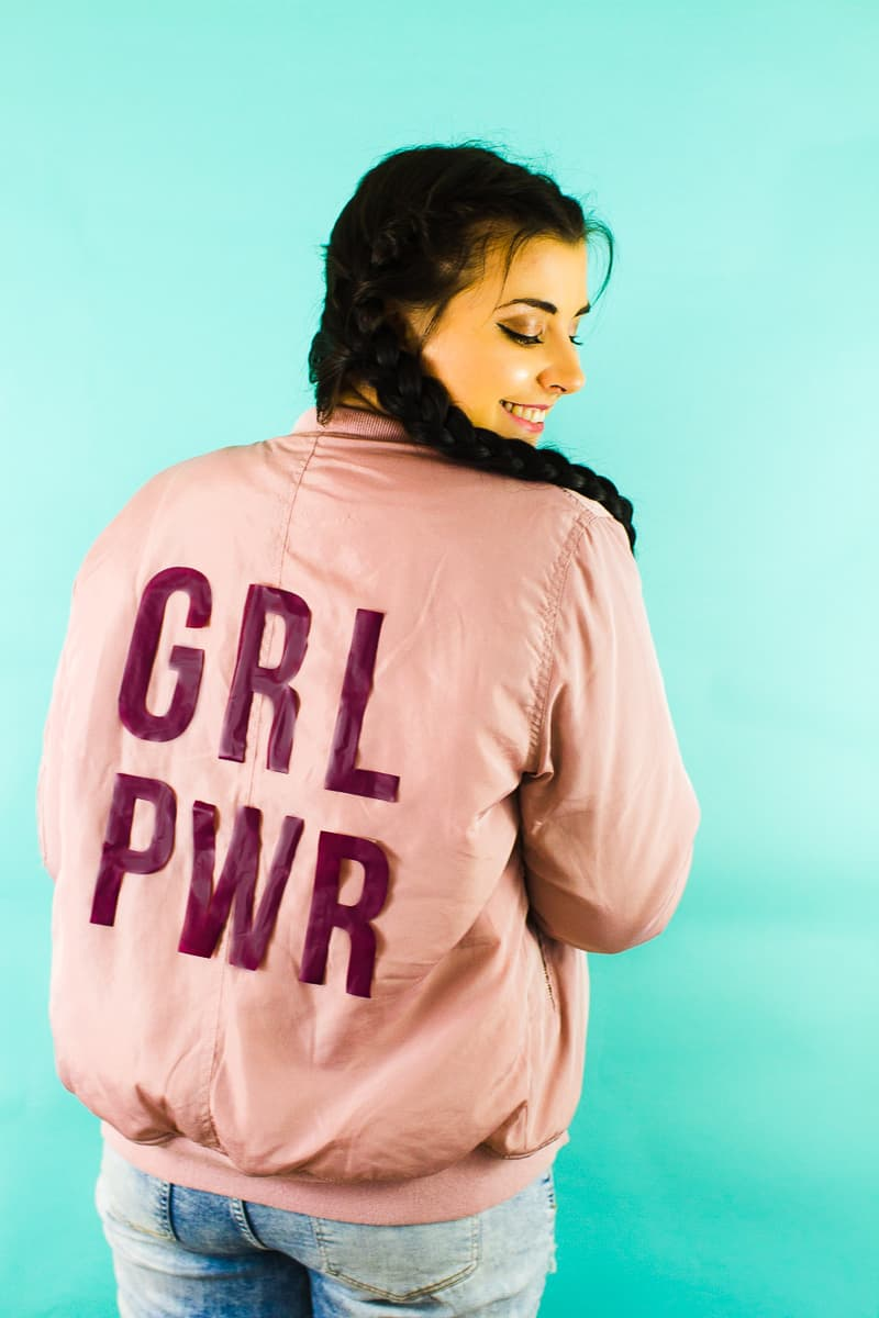 Edited DIY Slogan Bomber Jacker Girl Power GRL PWR Rose Gold Pastel Pink Fashion Tutorial Iron On Cricut-3