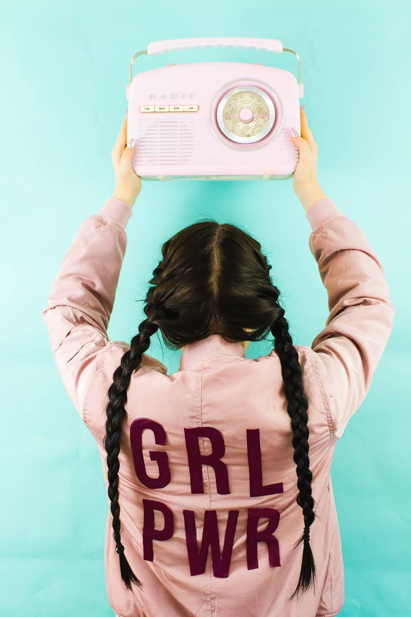 Edited DIY Slogan Bomber Jacker Girl Power GRL PWR Rose Gold Pastel Pink Fashion Tutorial Iron On Cricut-7