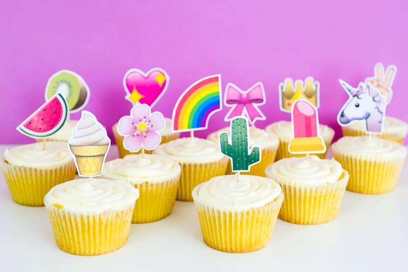 Emoji Cake Topper DIY Printable Download Fun cupcake heart unicorn watermelon rainbow_-16