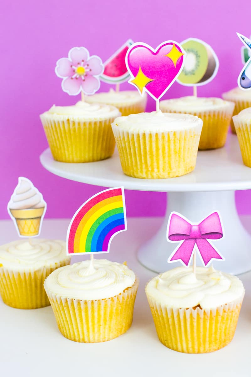 Emoji Cake Topper DIY Printable Download Fun cupcake heart unicorn watermelon rainbow_-21