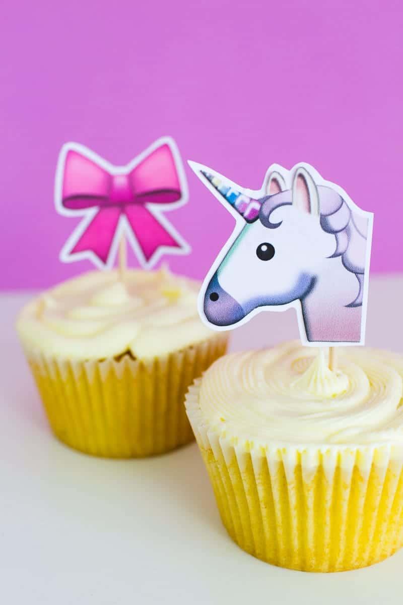 Emoji Cake Topper DIY Printable Download Fun cupcake heart unicorn watermelon rainbow_-27
