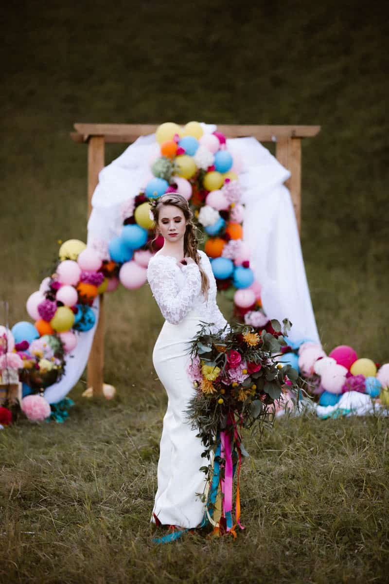 PLAYFUL & ROMANTIC KATY PERRY INSPIRED WEDDING WITH COLORFUL BALLOON ARCH (7)