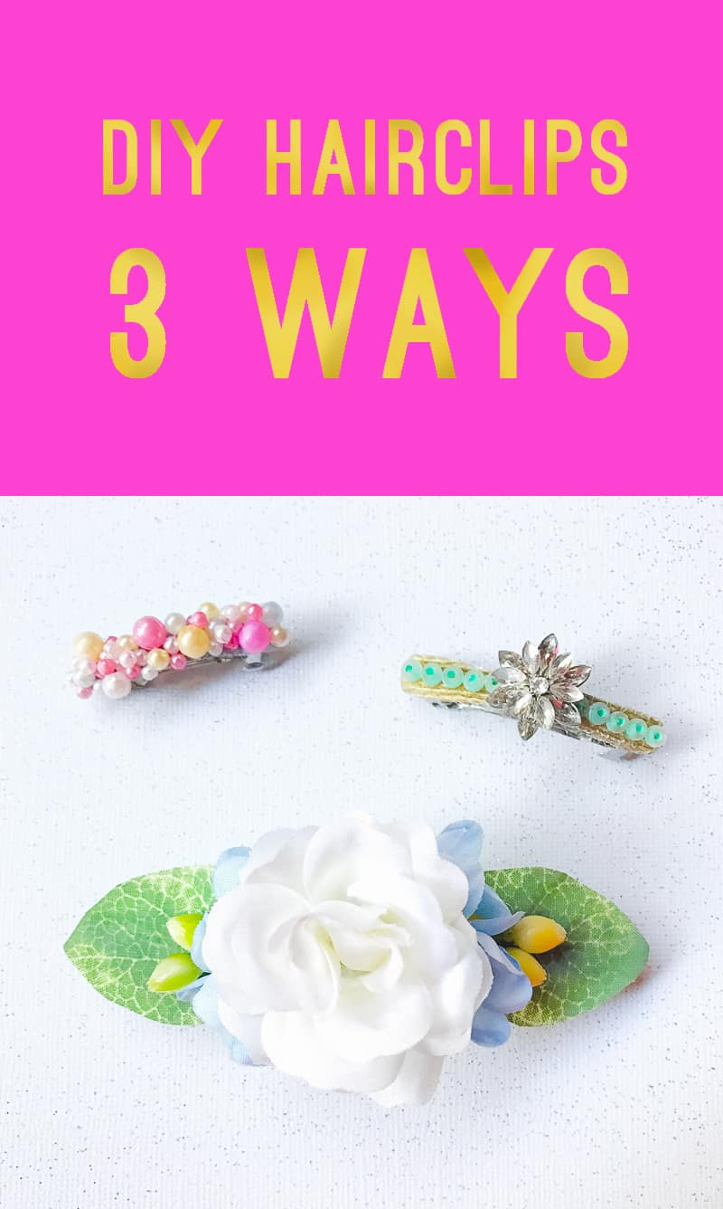 DIY Hair Clips 3 ways Flower floral beaded wedding gold Main Photo 2