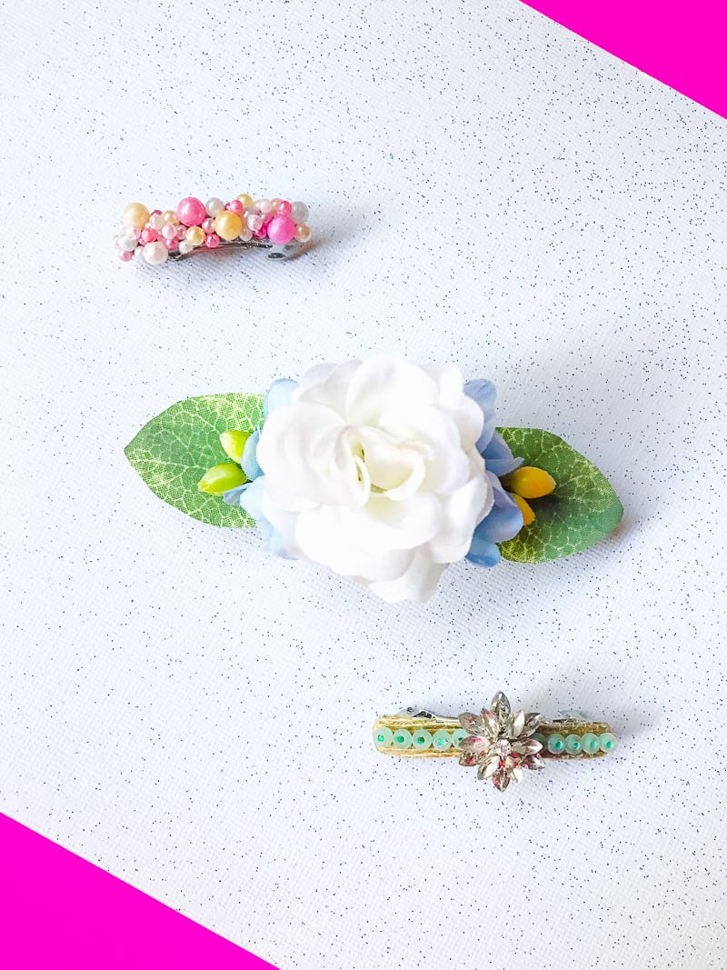 DIY Hair Clips 3 ways Flower floral beaded wedding gold_-8