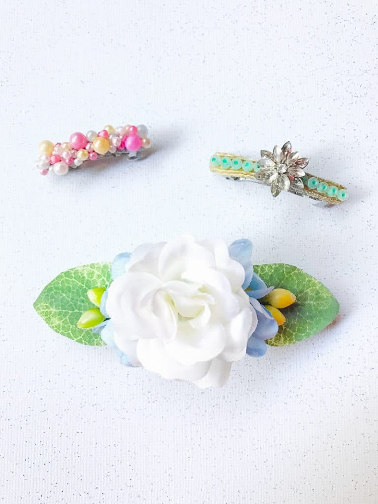 DIY Hair Clips 3 ways Flower floral beaded wedding gold_-9