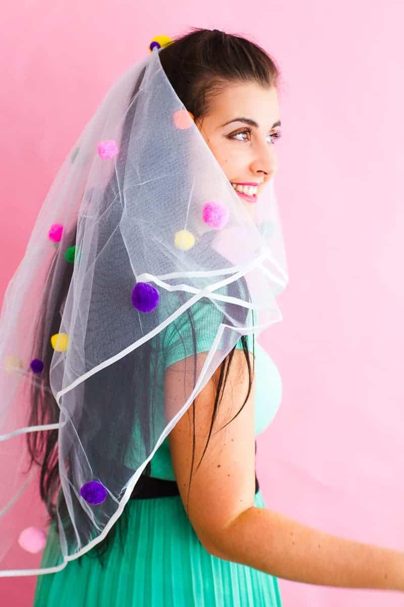 DIY Pom Pom Veil fun unique colourful hen party bridal shower bachelorette party_-5