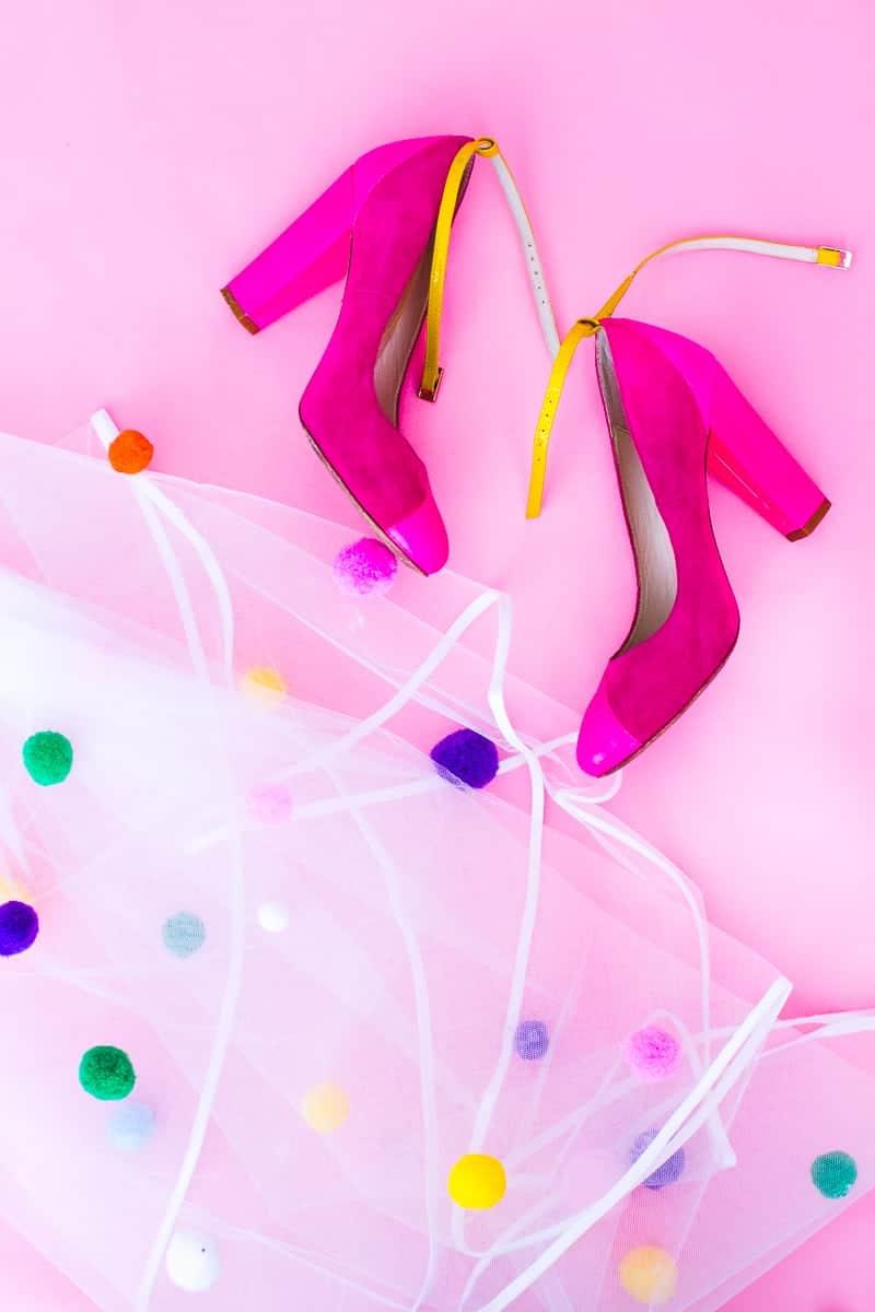 DIY Pom Pom Veil fun unique colourful hen party bridal shower bachelorette party_-8