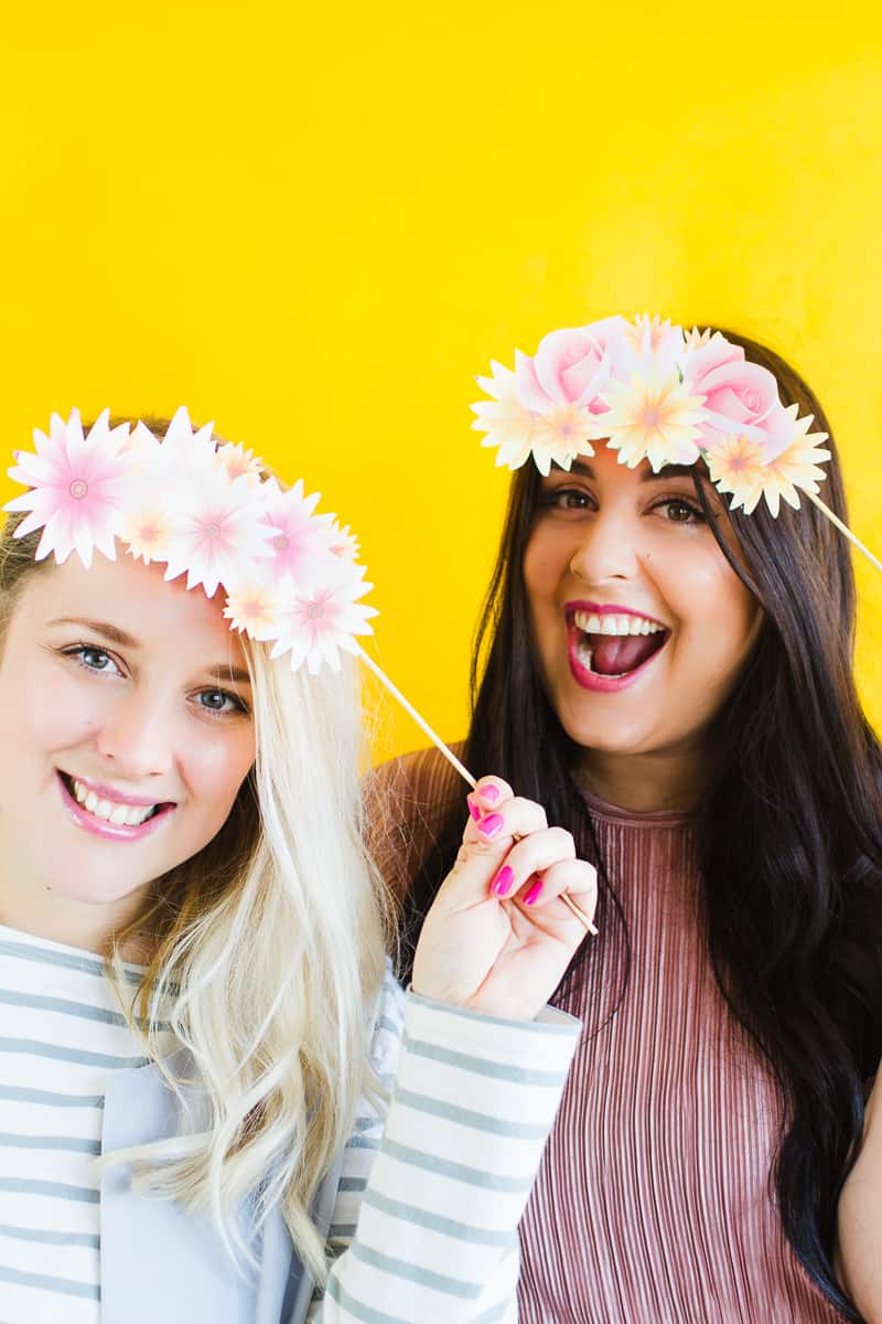 free printable photo booth flower crown props for your