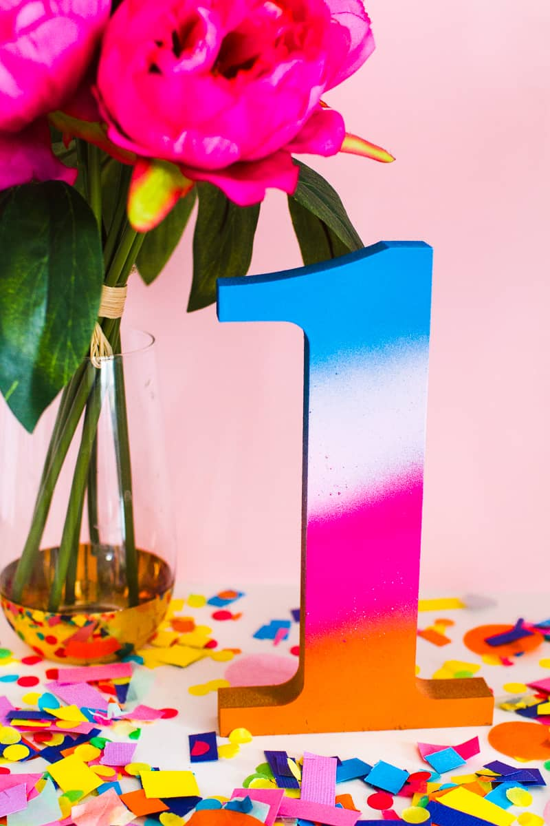DIY Table Numbers Spraypainted gradient ombre colourful wooden numbers centrepieces Rustoleum_-5