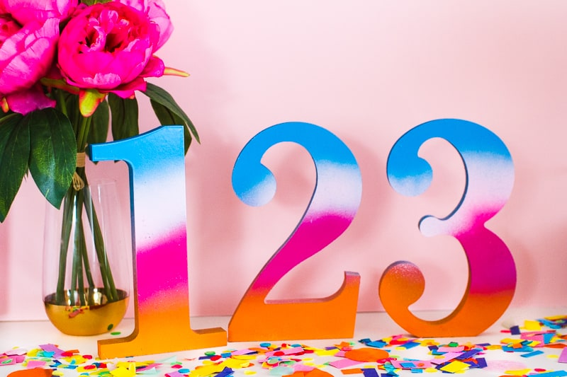 DIY Table Numbers Spraypainted gradient ombre colourful wooden numbers centrepieces Rustoleum_-7