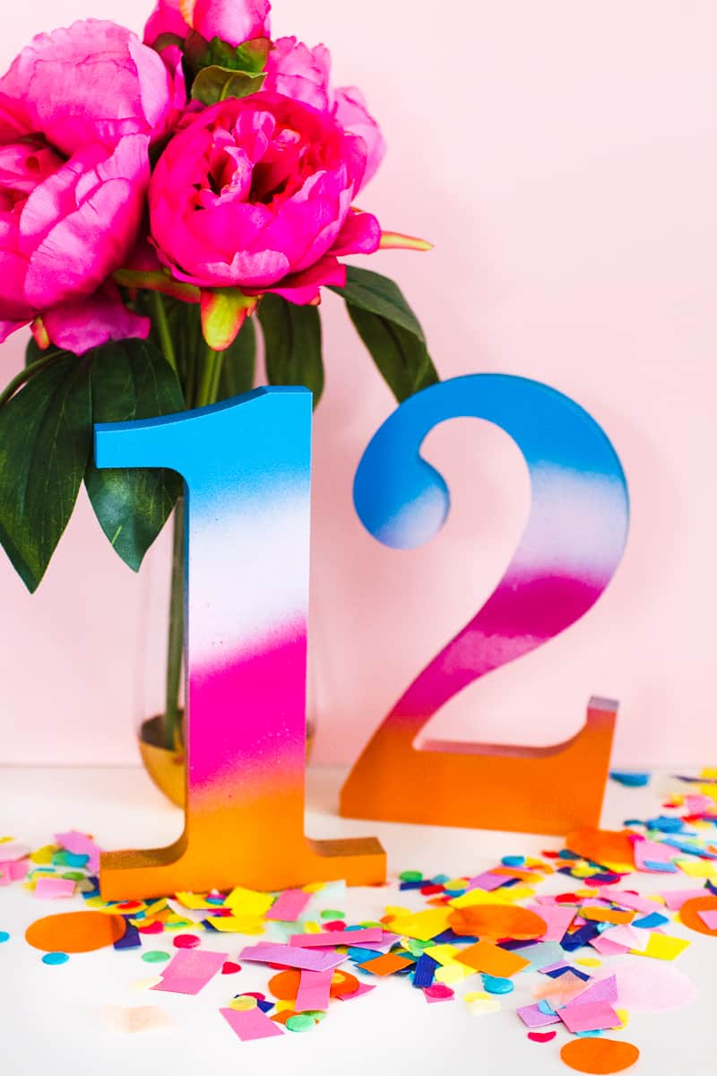 DIY Table Numbers Spraypainted gradient ombre colourful wooden numbers centrepieces Rustoleum_-8