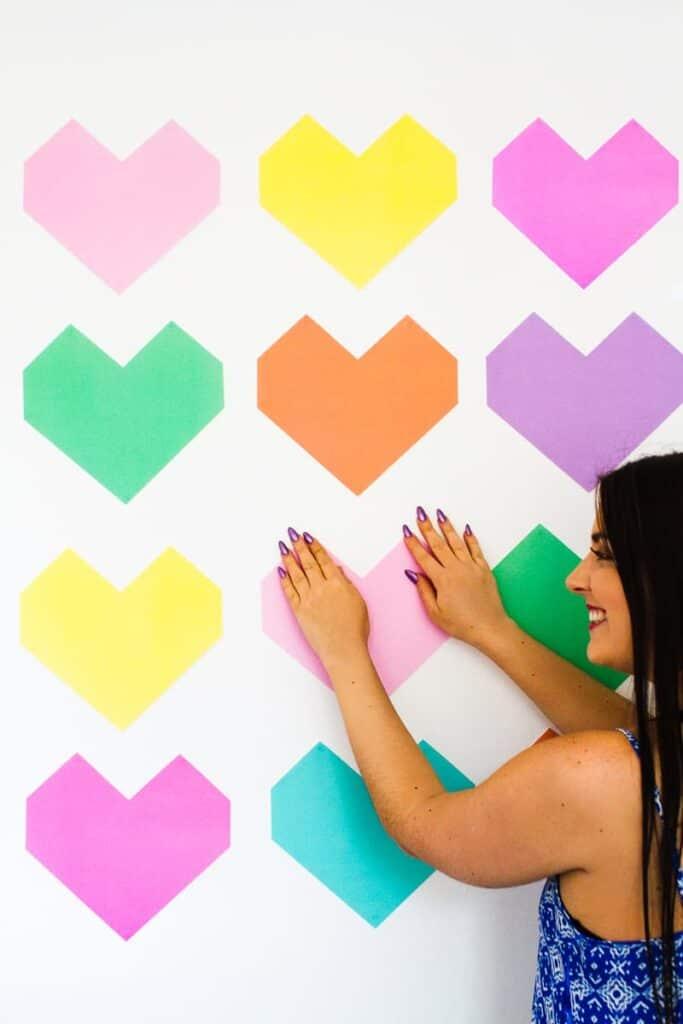 Easy DIY Backdrop Altar Paper Colourful Fun Geometric Heart Tutorial-1