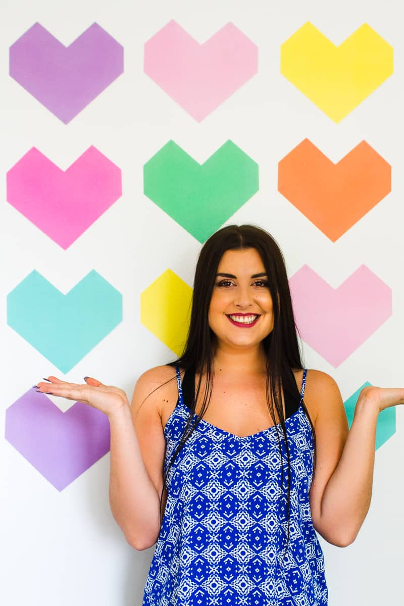 Easy DIY Backdrop Altar Paper Colourful Fun Geometric Heart Tutorial-9