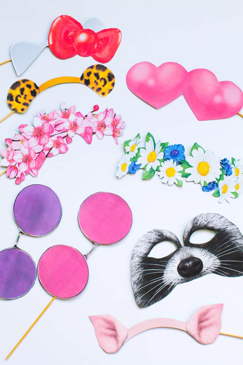 New Snapchat Filter Photo booth props Bunny Leopard ears hello kitty raccoon heart eyes flower crown glasses printable download-2