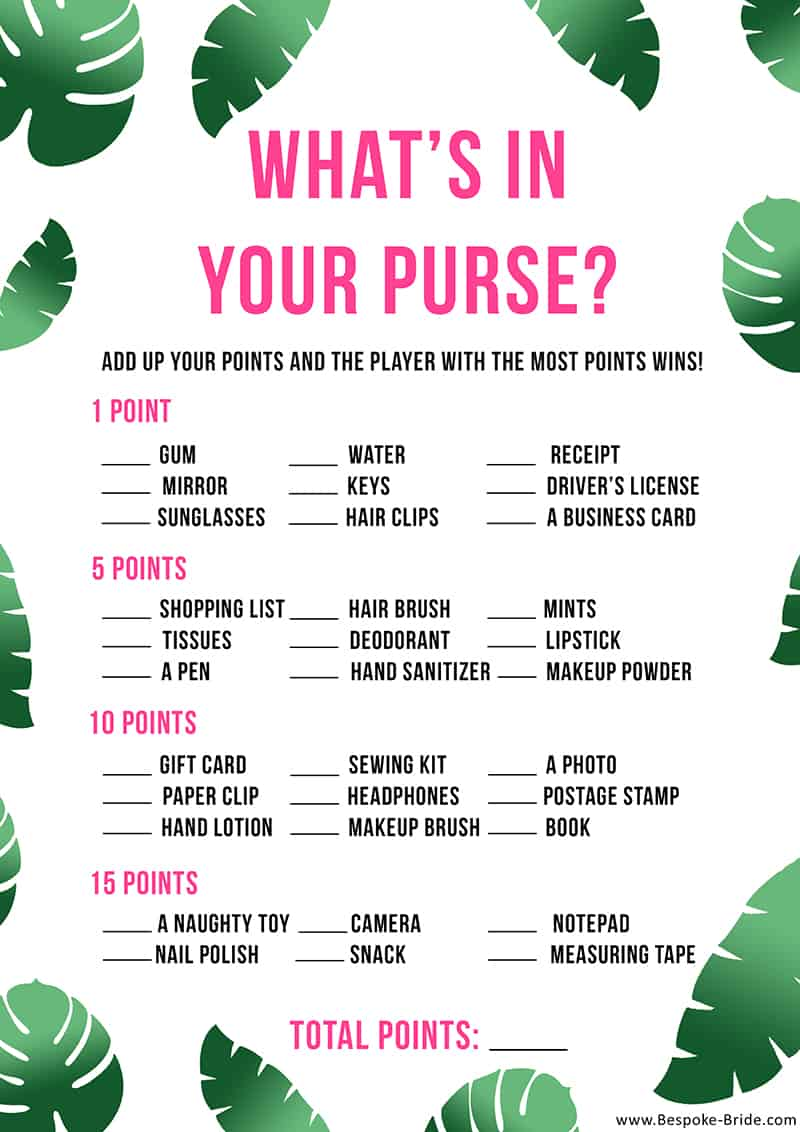 What's in your purse Bridal shower game tropical bachelorette palm tree leaf green pink