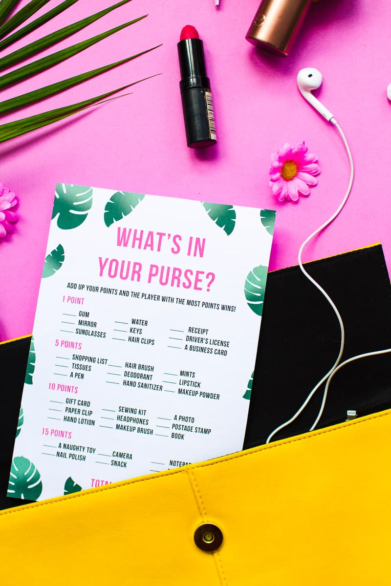 What's in your purse bag bridal shower game bachelorette party tropical theme games pack palm pink green-10