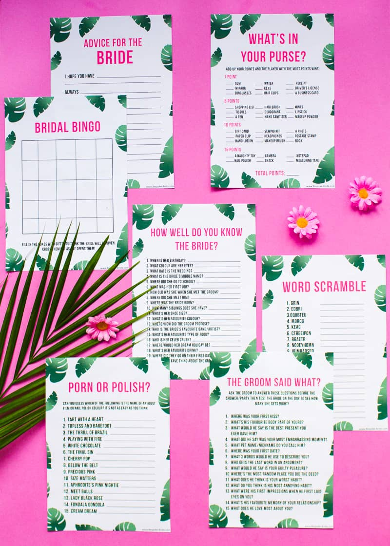 What's in your purse bag bridal shower game bachelorette party tropical theme games pack palm pink green-7